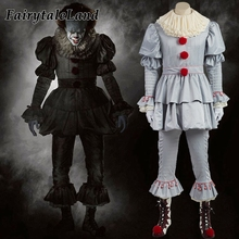 Stephen King's It Pennywise Cosplay Costume Adult Men Women Clown costume suit Custom made fancy Halloween Terror costume(China)