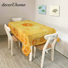 decorUhome Polyester Waterproof Rectangle Tablecloths Cool Orange Pattern Dinner Oilproof Table Cloth Home Banquet Table Covers