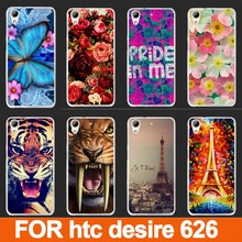 painting colored case cover for htc desire 626 626G D626W  beautiful flower tiger rose eiffel towers design case for htc 626