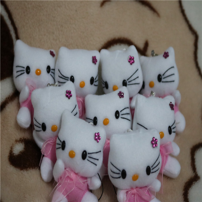 New hello kitty plush toy Gift doll mobile phone Pendant about 7cm size Xmas Gift Toy 15pc(China)