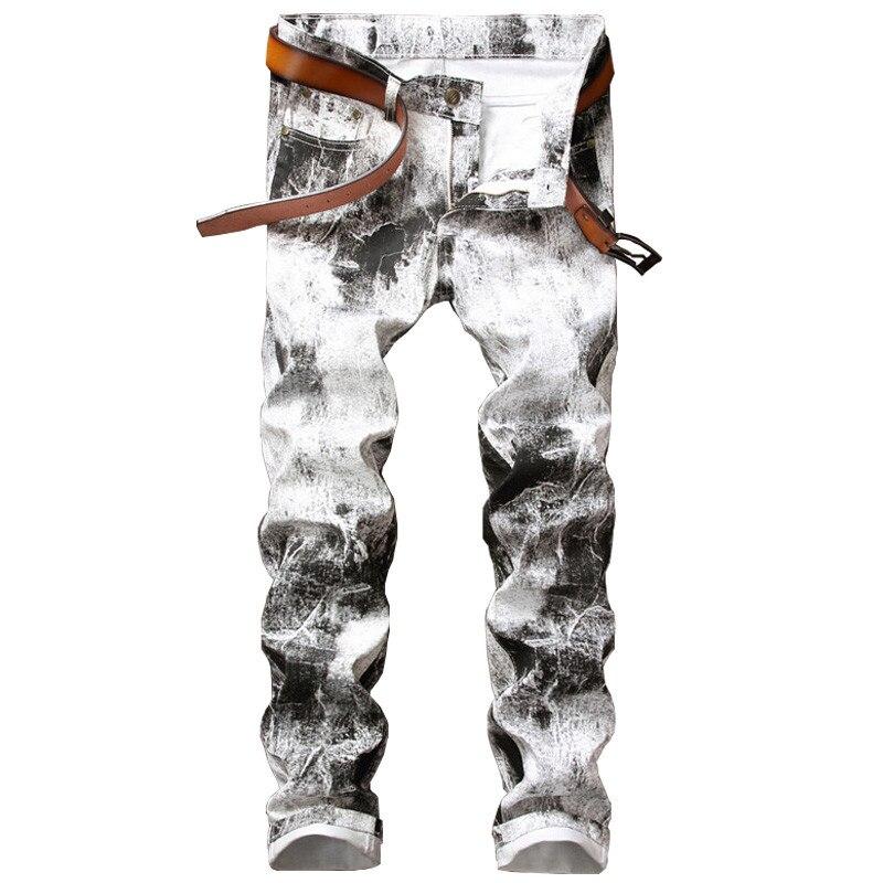 Newsosoo Fashion Mens Printed Jeans Pants Slim Fit Painted Denim Joggers For Male Club Wear Jean Trousers Size 28-38 WhiteÎäåæäà è àêñåññóàðû<br><br>