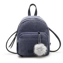 Women Leather Backpacks Schoolbags Travel Shoulder Bag Corduroy Mini Double Shoulder Bag PlushPendant Bag Comfystyle 2017.5.30