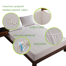 Bamboo Knitting Jacquard Anti-mite Bed Mattress Protection Pad Jacquard Cloth Bed waterproof Protector Cover for Bed Wet