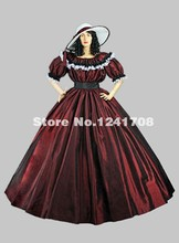 Brand New Elegant Burgundy And Blue Southern Belle Prom Dresses Women Medieval Renaissance Marie Antoinette Ball Gown Clothing