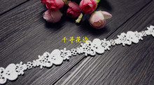 228451 5 Yards 2cm Love Heart Flowers Eyelash Embroidery Lace Embroidered Water Soluble Cotton Cloth Lace Trim Ribbon