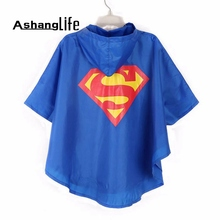 Ashanglife Kids Rain Coat raincoat for children Rainwear impermeable Rainsuit Kids Waterproof Supermen rain gear rain poncho