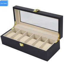 Black Out Watch Box&Case All World Luxury Watch Case 6 Slots Solid Wood Storage Organizer Display Boxes Custom Watch Boxees logo(China)