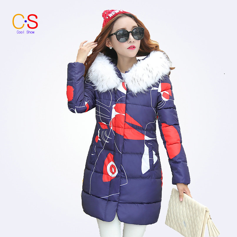 Floral Women Winter Coat With Fur Collar Down Parkas For Ladies Hooded Jackets Zipper Outerwears OutfisОдежда и ак�е��уары<br><br><br>Aliexpress