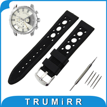 20mm 22mm 24mm Silicone Rubber Watch Band for Diesel Stainless Tang Buckle Wrist Strap Bracelet Black Red + Spring Bar + Tool