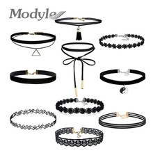 Modyle Best Deal New Fashion 10Pcs/set Women Black Rope Choker Necklace Stretch Velvet Classic Gothic Lace Chain Necklaces 1Set(China)