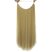 Soowee 24'' Long Blonde Gray High Temperature Fiber Synthetic Hair Fish Line Halo Invisible Straight Hair Extensions Hairpieces