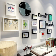 2017 New Simple Modern European Decorative Photo Wall Frames Home Ornament Picture Album Wall Hanging Woody Clock decorations