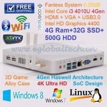New Fanless I3 Mini PC Embedded Wifi with 4GB Ram 32GB SSD 500GB HDD Dual Antenna All Aluminum Case DHL Free Shipping
