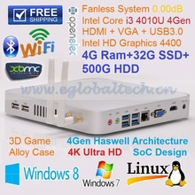 New Fanless I3 Mini PC Embedded Wifi with 4GB Ram 32GB SSD 500GB HDD Dual Antenna All Aluminum Case DHL Free Shipping(China)
