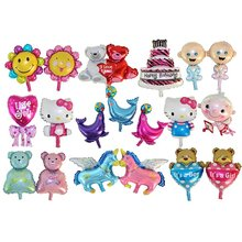 XXPWJ Free shipping Mini cartoon baby cake aluminum balloons birthday party balloons wholesale children's toys(China)