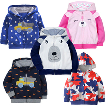 Baby Girl and Boy Cotton Hooded Jacket for Autumn and Spring Infant Sporting Outwear for 9M to 3T Children Clothing Coat(China)