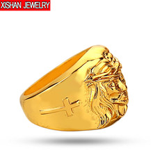 Retail 1 Pcs 2017 Men's High Quality New 24K Gold color Lion Wedding Ring Hip Hop Jewelry 1 Piece(China)
