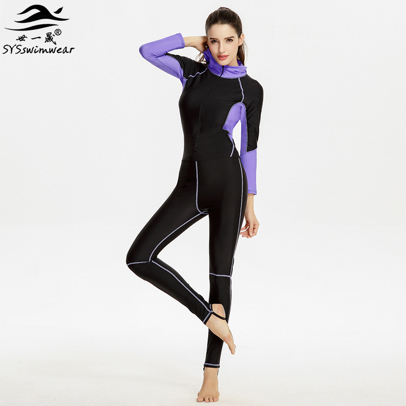 Hot High Quality Zipper &amp; Long Sleeves Surfing Women One Pieces Swimwear Solid Patchwork Hooded Swimsuit Hot Sport Bathing Suit<br>