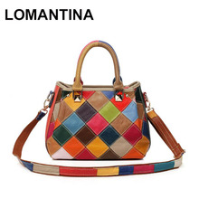 Super Deal!New 2017 Women Messenger Bags Real Leather Handbags Casual Tote Small Bag Plaid Bags