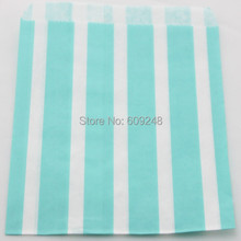 100pcs Mixed Colors Light Blue Vertical Striped Paper Candy Bags,Stripe Party Favor Buffet Treat Goodie Food Gift,Personalised