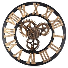 Novelty 17.7 Inch Wall clock 3d Gear Wood wall clock Digital Vintage wall clocks Vintage watches Roman style Circular Oversized(China)