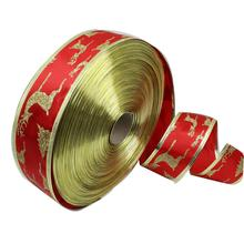 New 5CM*200CM Christmas Decorations Luxurious Red Grosgrain Ribbons Printed Ribbon Christmas Present Weeding Wire Edged Ribbon