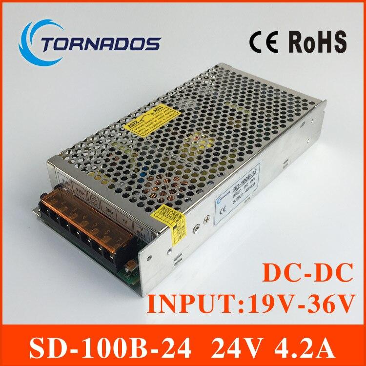 DC-DC CONVERTER SD-100B-24  single output switching power supply for LED Equipment input 19V-36v to 24V<br>