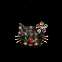 OneckOha Vintage Alloy Brooches Rhinestone Hello Kitty Brooch Pin Garment Hat Accessories Birthday Gift(China)
