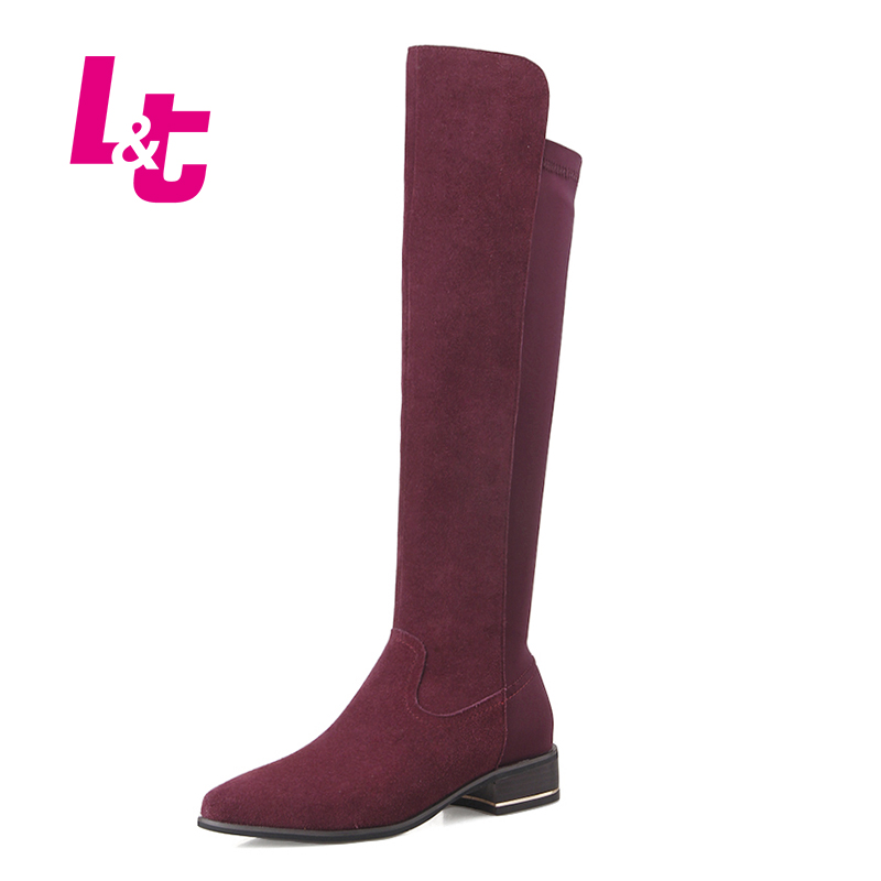 L&T Winter knee high boots for women,cow suede leather and elastic leica rubber fashion Chelsea boots.botas mujer.ladies shoes(China (Mainland))