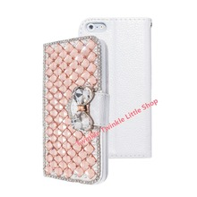 Free shipping 3D Bling Luxury Crystal Flip Wallet Leather Case For iphone Diamond Phone Cases Pink Gold Blue Silver Purple(China)