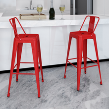 2 High Bar Stools  square shape with red back Chairs For Drinking Dining Ship From ES