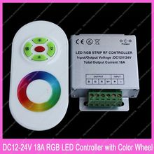DC12V-24V 18A RGB LED Controller Aluminum Box with RF 5 Key Half Touch Wireless Remote & Color Wheel for RGB LED Striplight(China)