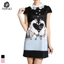 2XL - 5XL Women Plus Size Crown Swan Printed Dress  Summer Fashion Above Knee-length Casual Dresses Black Pink 2272