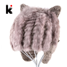 Autumn Winter Baby Hat Kids Knitted Cap Cute Rabbit Fur Hats With Ears Children Beanies For Boys And Girls Lovely Toddler Caps(China)