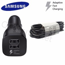 100% Original Car Charger For Samsung Galaxy S8/S8 plus + Fast Charger Dual USB Adapter Type C Cable black and white