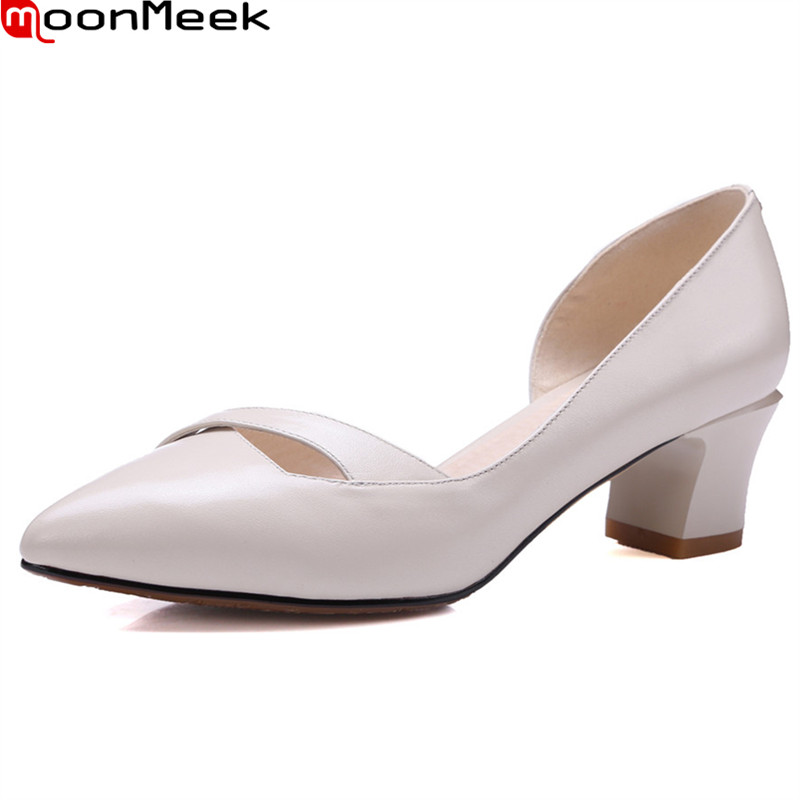 MoonMeek 2018 new hot female fashion pumps pointed toe square heels slip on shallow pink black white nature ladies dress shoes<br>