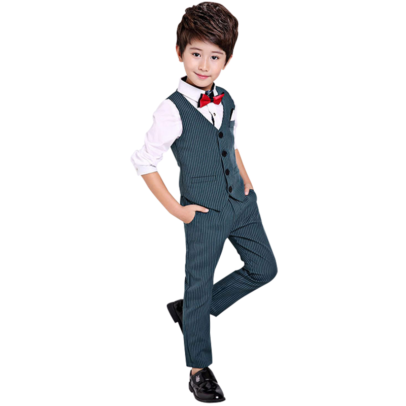 Boys Stripes Tuxedo Suit Set 3Pcs Childen Formal Slim Fit Suit with Vest Shirt Pants Toddler Wedding School Party Wear 2T-11Y<br>