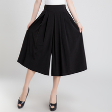 Brand New 2017 Spring Summer Wide Leg Pants Capris Black Knitted Sexy Ankle-Length Culottes Pants  Plus Size Loose Pants Women