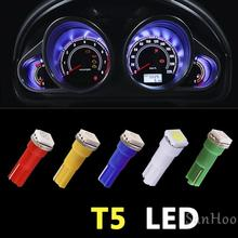 10pcs Car Interior LED Dashboard light T5 1 SMD 5050 led T5 27 74  206 407 2721 LED Bulb Lamp Yellow/Blue/green/red/white CA004