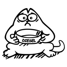 13.5*11.1CM DIESEL Simon's Cat Funny Cartoon Car Stickers Decals Fashion Fuel Cap Decoration Accessories C4-0493