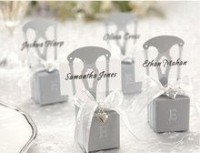 Silver Chair Candy Boxes and Card Holder With Organza Bow and pendant wedding candy box guest gift favor box(China)