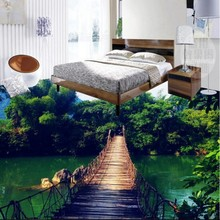 beibehang large mural wooden bridge bamboo sky water white clouds landscape 3D stereo floor thickening wear pvc plastic film