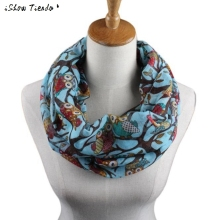 Scarf Women Ladies Owl Pattern Printing Cute Shawls And Scarves O Ring Pattern Bandanas Poncho Feminino #2913