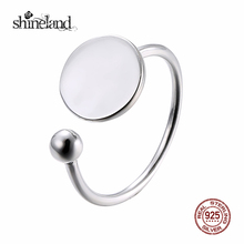 Shineland 2017 Promotion Rushed Fashion 925 Sterling Silver Wafer&ball Open Ring for Women Men Wedding Bands Jewelry Trendy Gift