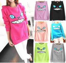 Hot Sale ~ Zipper Smile Mouth Shoulder 3D Ear Cat Jumper  Crew-neck Long Sleeve Hoodie Sweatshirt Pullover Tops