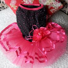 Pet Dog Cat Bling Red Black Tutu Dress Lace Dress Puppy Clothes Dog Party Dress Large