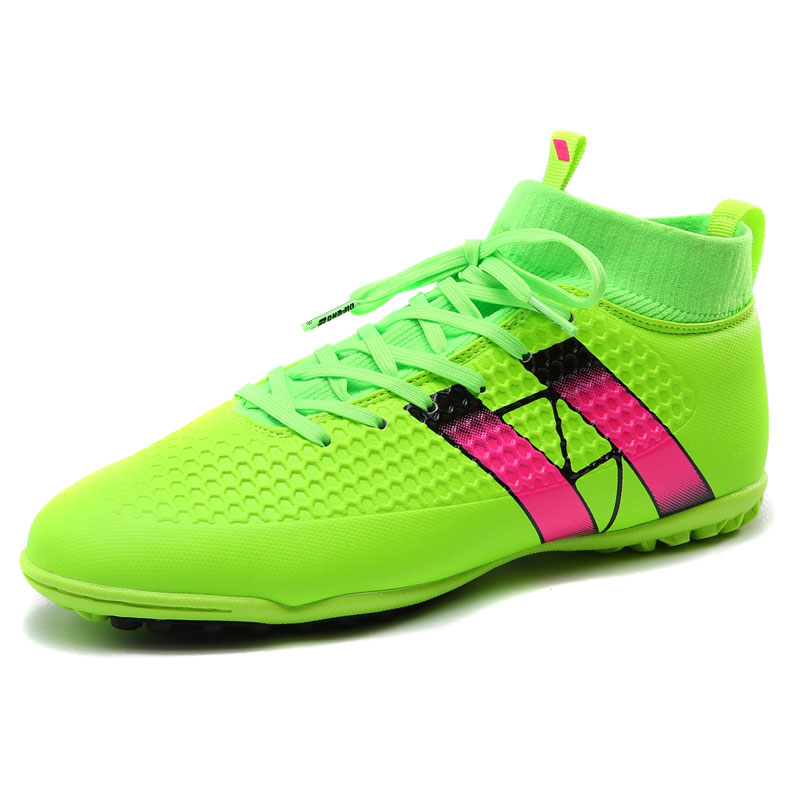 New Soccer Football Shoes With Ankle Boots Green/Black/Orange Soccer Cleats High Ankle Mens Turf Cleats Artificial Turf Soccer<br><br>Aliexpress