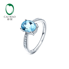 1.51ct VS Blue Aquamarine & 0.17ct Natural Pave Diamond Real 14k White Gold Engagement Ring(China)