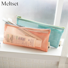 Woman Mini Mesh Cosmetic Bags Toothbrush Pencil Lipstick Mesh Makeup Organizer Travel Toiletry Bags