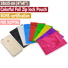 100 pcs 10x15 cm (4''x6'') Colorful Zip lock Bags,Zip lock Pouches,Moisture Proof Bags Keep Aroma Zip lock Bags Free Shipping